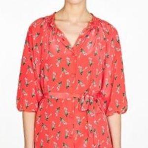 Tucker red flowered silk dress size small